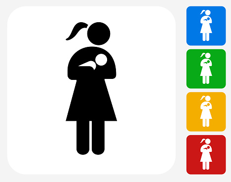 Woman Nursing a Baby Icon Flat Graphic Design