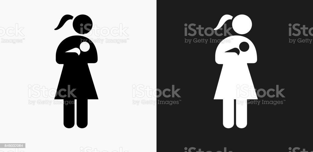 Frau Die Pflege Eines Babysymbol Auf Schwarzweißvektorhintergründe