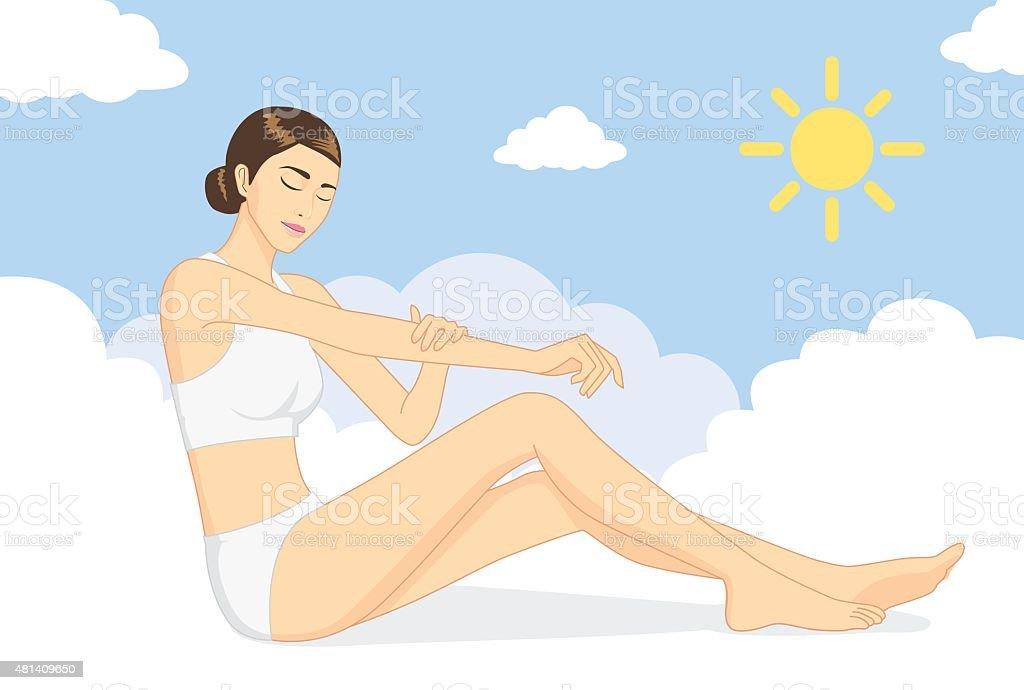 Woman nurture skin at day vector art illustration