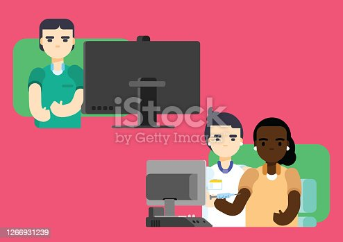 istock Woman of African ethnicity having blood sample taken to check for dietary limitation, examination by a doctor from a remote clinic. Practicing male doctor of caucasian ethnicity and woman doctor of caucasian ethnicity. 1266931239