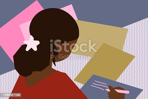 Woman of color sitting at desk and doing paperwork / routine work with pen in hand. Home office vector illustration.
