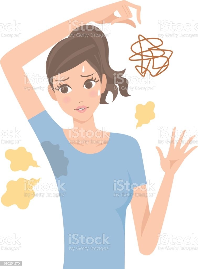 Woman of the body odor vector art illustration