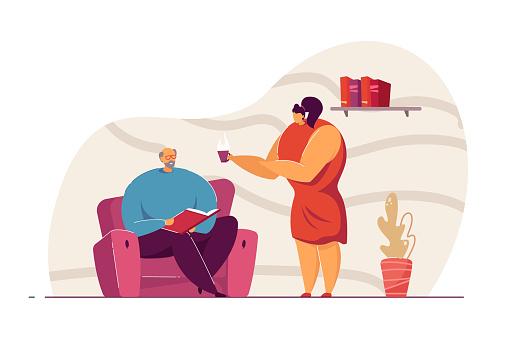 Woman offering tea to man vector illustration