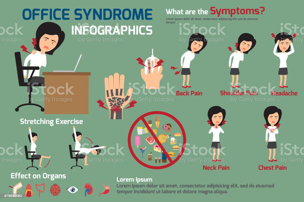 woman office syndrome infographics, women office syndrome symptoms and effect to organs with stretching exercise. office syndrome for advertising vector illustration. vector art illustration