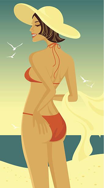 Kobieta na plaży. – artystyczna grafika wektorowa