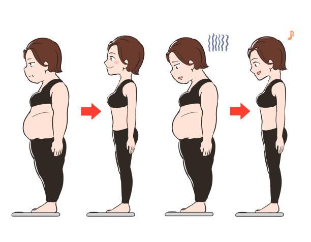 ダイエット中の女性が体重計に乗る ベクターアートイラスト