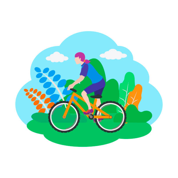 Woman on a sport bicycle. Vector illustration isolated on white background. vector art illustration
