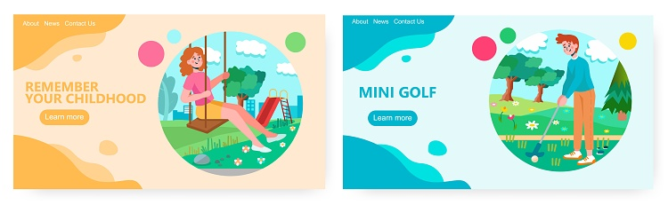 Woman on a swing on summer day enjoy her free time. Man plays gold on a green field. Weekend concept illustration. Vector web site design template