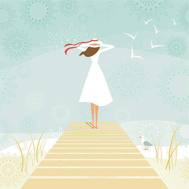 Woman on a wharf Woman standing on a wooden pier while contemplating the sea. seyahat noktaları illustrationsları stock illustrations
