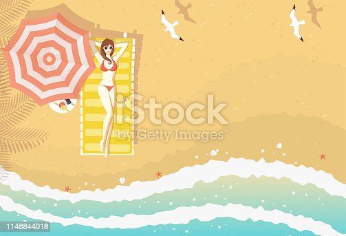istock Woman on beach lounger top view 1148844018