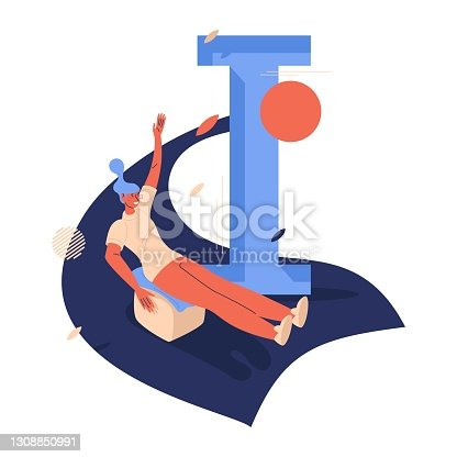 istock Woman on block riding down the hill. Ice blocking summer activity with capital letter I. Sport illustration isolated on white 1308850991