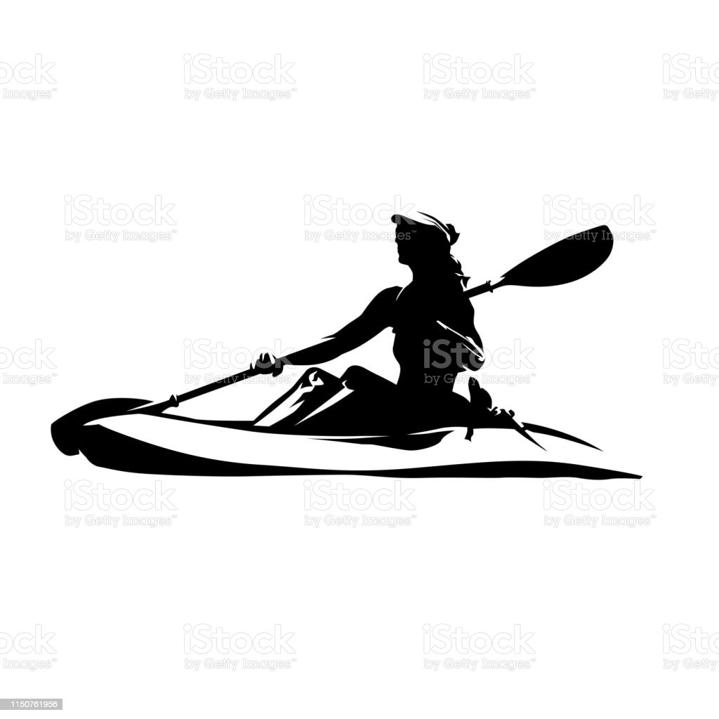 Woman on canoe, isolated vector ink drawing. Abstract vector...