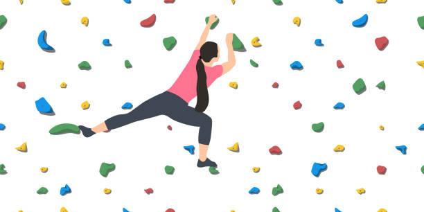 woman on climbing wall - rock climbing stock illustrations, clip art, cartoons, & icons