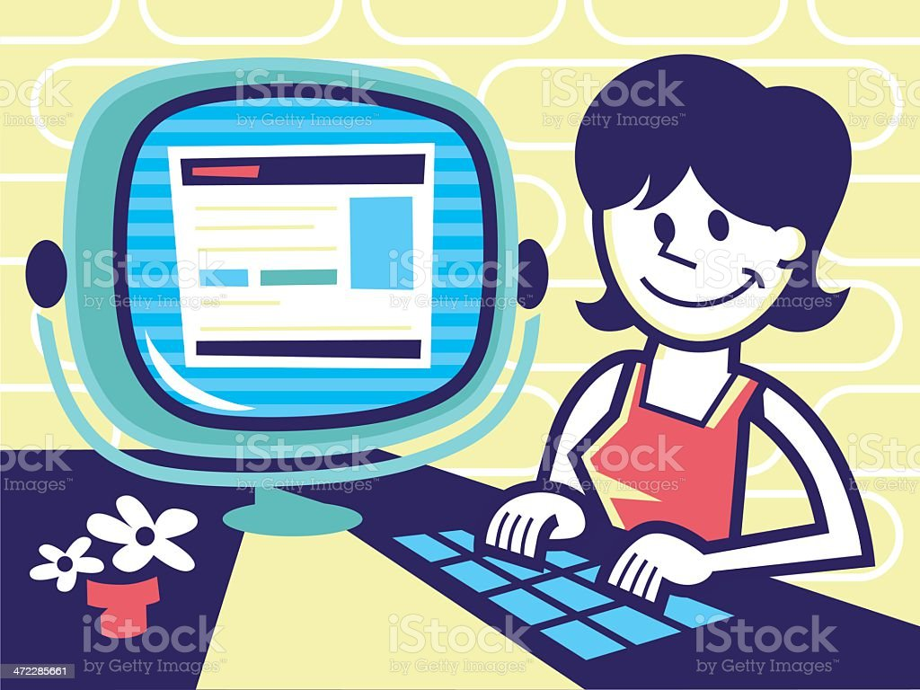 woman on computer vector art illustration