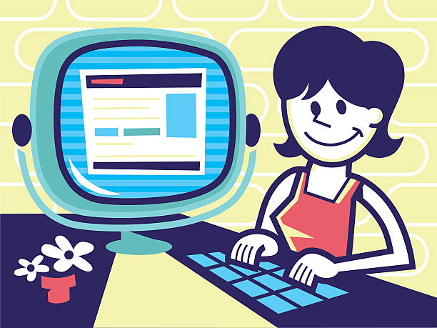 woman on computer - peter bajohr stock illustrations, clip art, cartoons, & icons