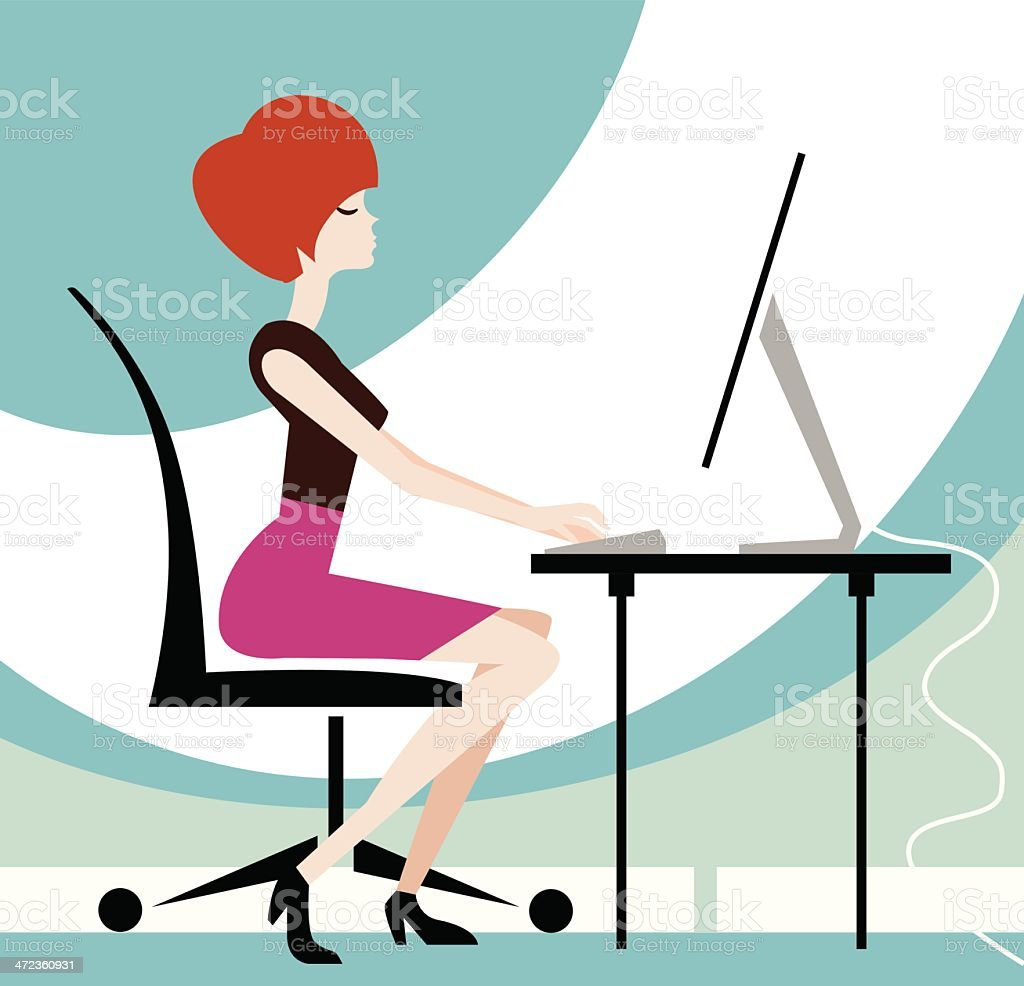 Woman on Computer royalty-free woman on computer stock vector art & more images of adult