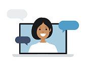 istock Woman on Laptop Computer Screen. Talking. Vector stock illustration 1291377836