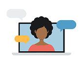 istock Woman on Laptop Computer Screen. Talking. Vector stock illustration 1291377887