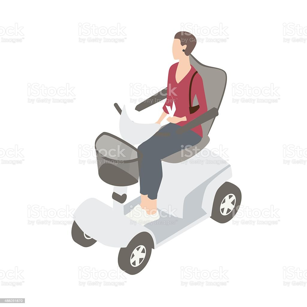Woman on mobility scooter vector art illustration