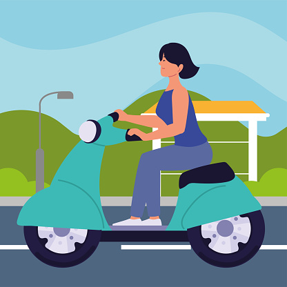 woman on motorbike scooter