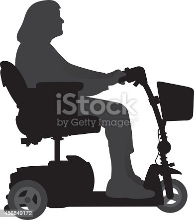 Vector silhouette of an old woman on a motorized scooter.