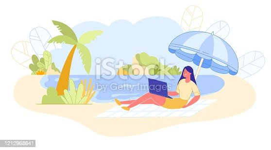 istock Woman on Ocean Works Remotely on Litter, Banner. 1212968641
