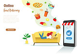 Woman on sofa order foods on smartphone app. Online food shopping, delivery service and e-commerce business. Vector template, banner design.