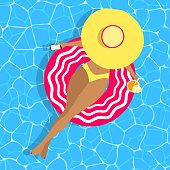 Woman on swimming rubber ring vector concept. Tanned girl with phone, hat, drink, bikini swimsuit top view on blue wave water background. Relaxing, summer remote working character at sea, beach, pool