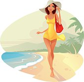 Illustration of The Woman on the beach. EPS file 8. ZIP archive contains - High-Res JPEG file and PNG format.