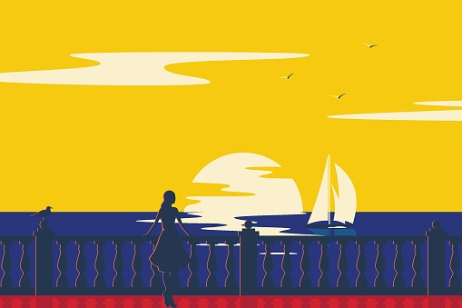 Woman on the promenade on the seashore looks at the sailboat. Nature landscape and seascape. Vintage retro poster.