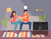 Man and woman eating burgers, holding  beer and watches TV on the sofa. Vector flat illustration