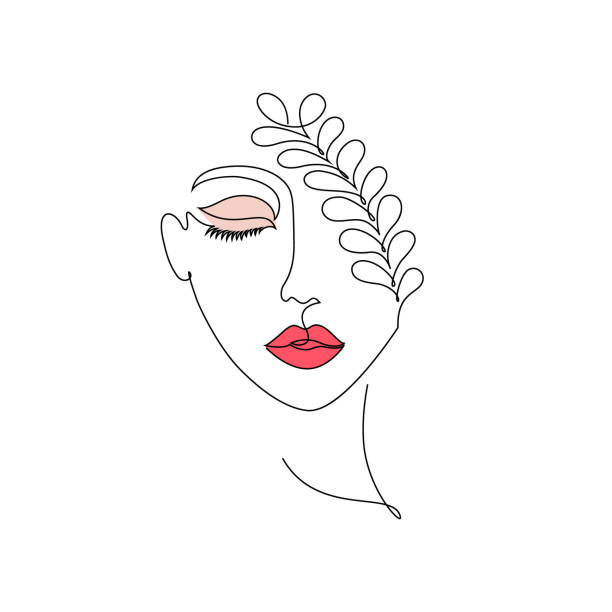 Woman on white background Woman on white background.One line drawing style.Design for t-shirt beautiful woman stock illustrations