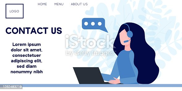 Woman operator in headphones with laptop. Concept of customer service, call center, hotline operator, online technical support 24 7, assistance. Flat vector illustration, banner for landing page.
