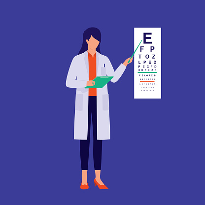 Woman Optometrist Conducting Eye Exam. Medical And Healthcare Occupation Concept. Vector Illustration Flat Cartoon.