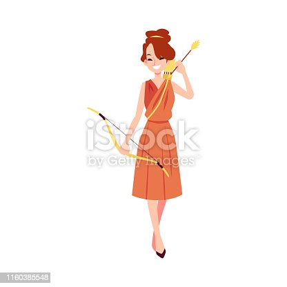 Woman or Artemis Greek Goddess stands holding bow and arrow cartoon style, vector illustration isolated on white background. Diana mythological queen of hunting and fertility and chastity