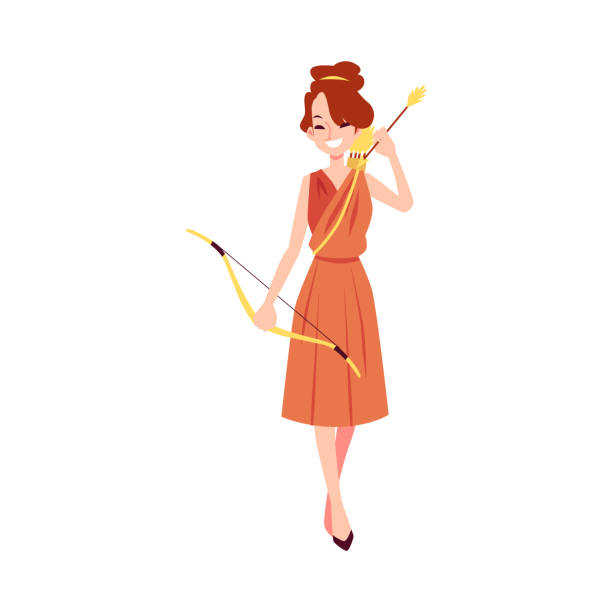 Woman or Artemis Greek Goddess stands holding bow and arrow cartoon style Woman or Artemis Greek Goddess stands holding bow and arrow cartoon style, vector illustration isolated on white background. Diana mythological queen of hunting and fertility and chastity artemis stock illustrations
