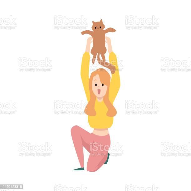 Woman or girl playing with her cat pet flat vector illustration vector id1150423318?b=1&k=6&m=1150423318&s=612x612&h=zegajkpksjt1vxq19mj hdbclqbgjtaio6jme535g 0=