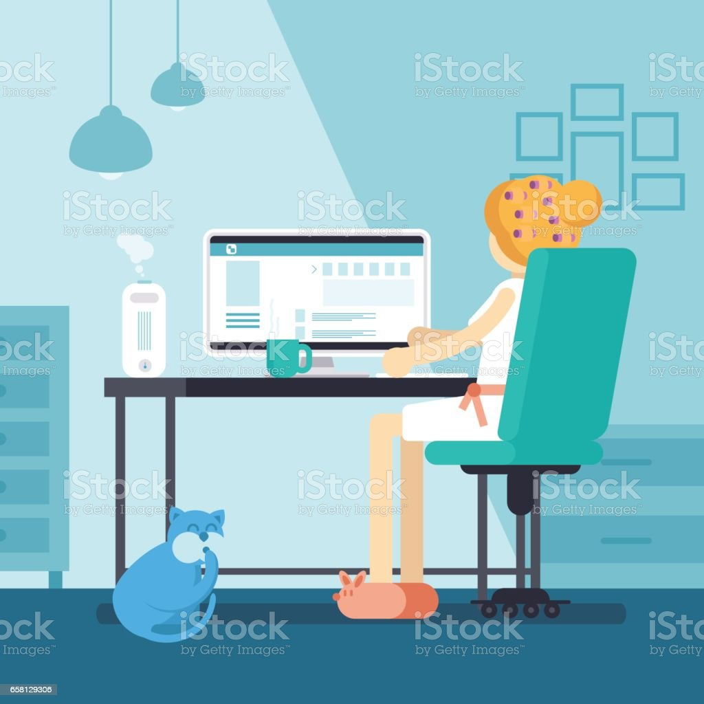 Woman or girl sitting in front of pc surfing social media. Young housewife at home working online in internet. Female inside living room working with coffee on table. Vector illustration vector art illustration