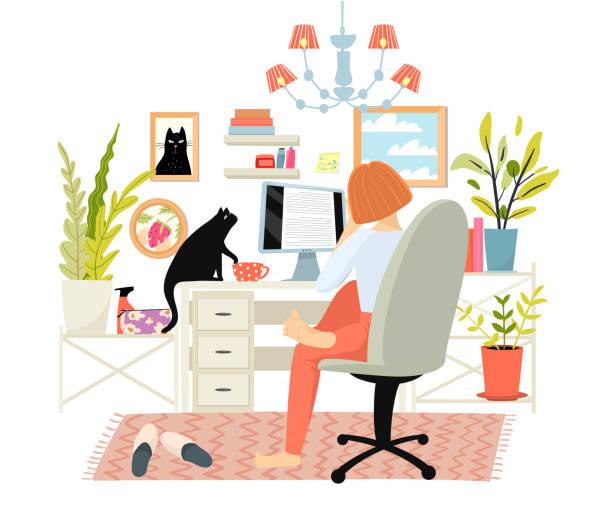 ilustrações de stock, clip art, desenhos animados e ícones de woman or girl working, studying from home office workspace, sit at desk, scroll computer screen. - covid hair
