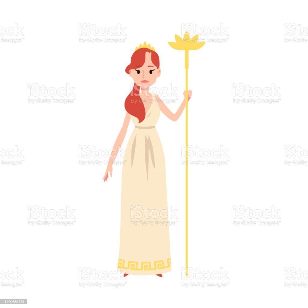Woman Or Hera Greek Goddess Stands Holding Golden Staff