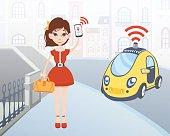Woman ordering driverless taxi using mobile application. Cartoon female character with smartphone and car on city street background. Vector illustration.