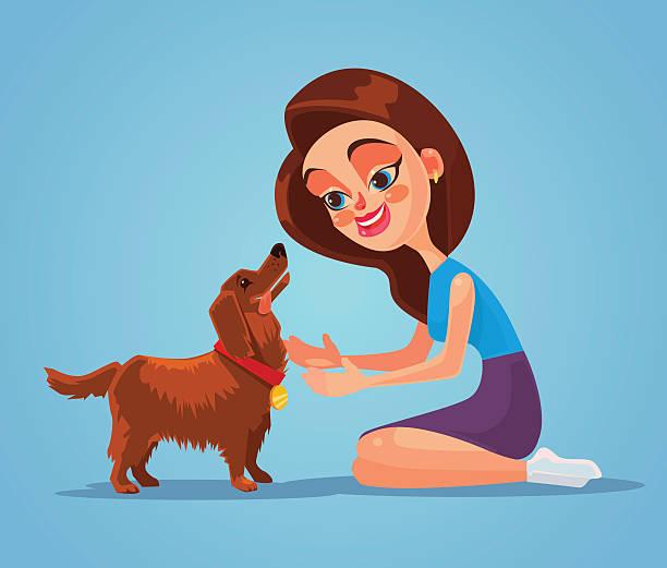 illustrations, cliparts, dessins animés et icônes de woman owner character play with her dog pet - femme seule s'enlacer