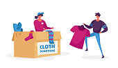 Woman Packing Box with Donating Things. Charity Organization Help People in Troubles and Poor Families with Finance Problems. Volunteer Characters in Donation Center. Cartoon Vector Illustration