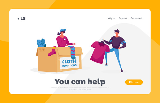 Woman Packing Box with Donating Things Landing Page Template. Charity Organization Help People in Troubles and Finance Problems. Volunteer Characters in Donation Center. Cartoon Vector Illustration