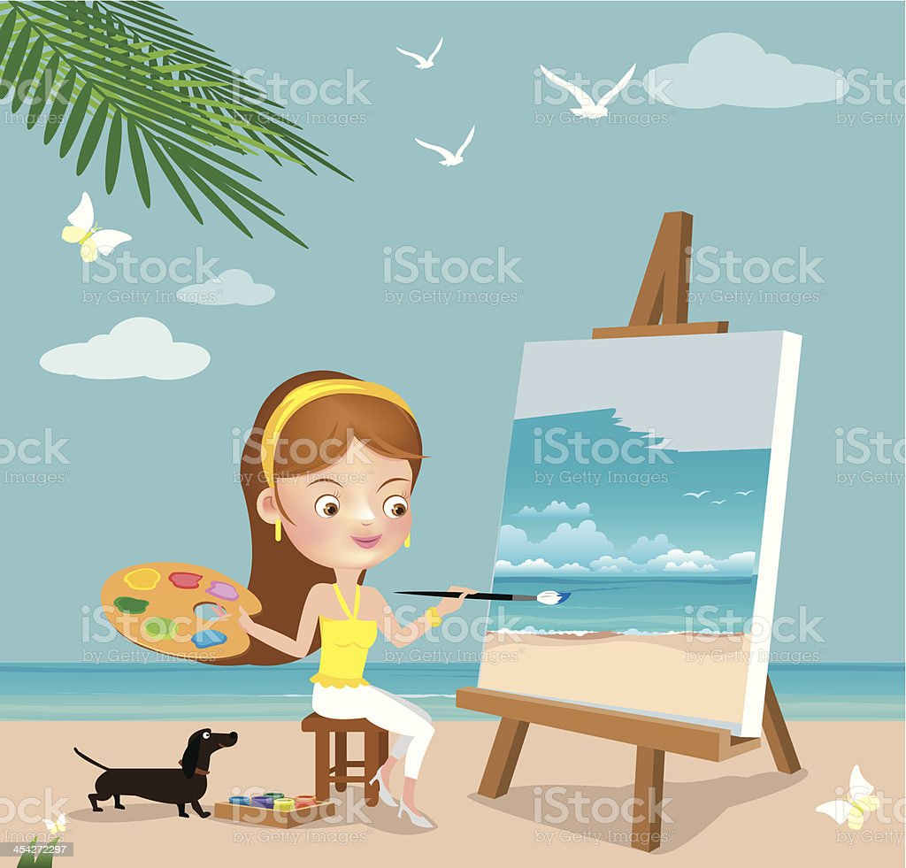 Woman paint on canvas. royalty-free stock vector art