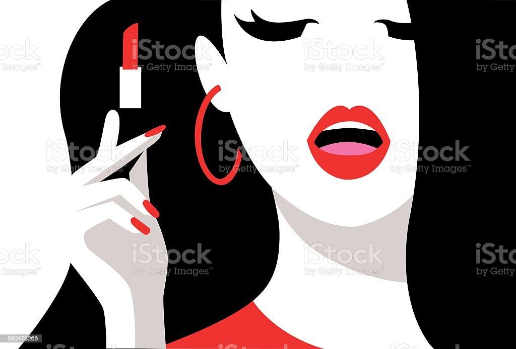 Woman paints her lips. Pop art , flat style. vector art illustration