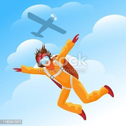 Woman parachutist. Female parachute jumper with plane vector illustration, parachuting jump person in blue sky, parachuter jumping and parachutism activities adventure