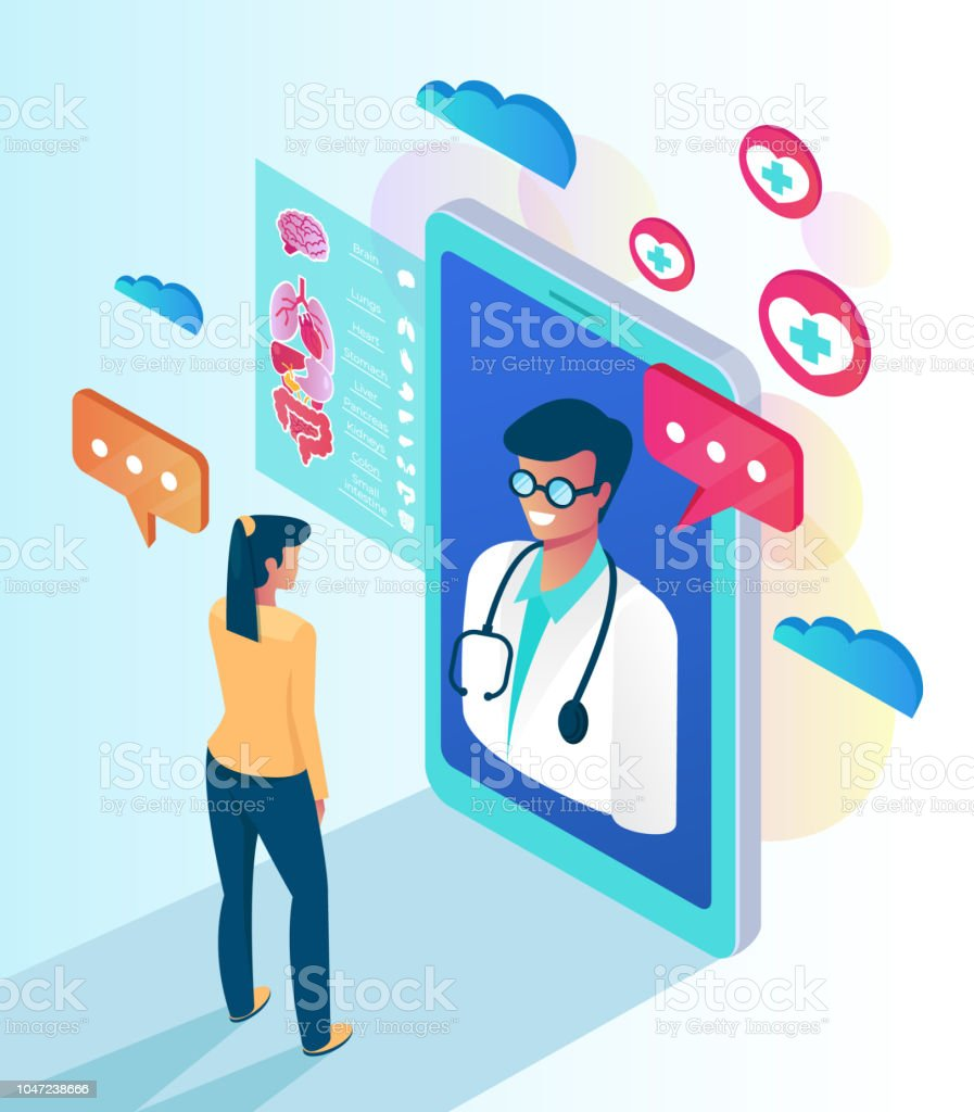 Woman patient character calling professional doctor by smartphone. Online web medicine clinic consultation concept. Vector flat cartoon isolated illustration vector art illustration