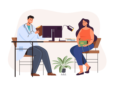 Woman patient character taking consulting specialist doctor consultation. Vector flat graphic design illustration