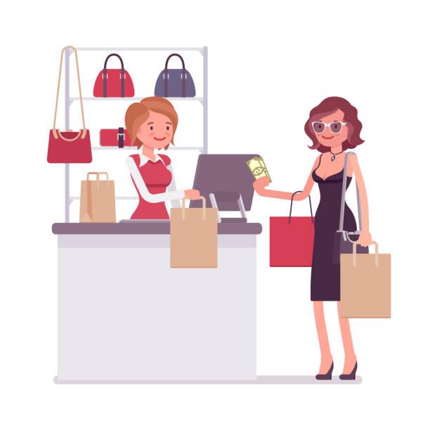 stockillustraties, clipart, cartoons en iconen met vrouw betaalt om te winkelen - woman very rich
